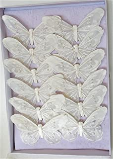 12pc artificial butterflies white monarch white butterlies with pearls and clip