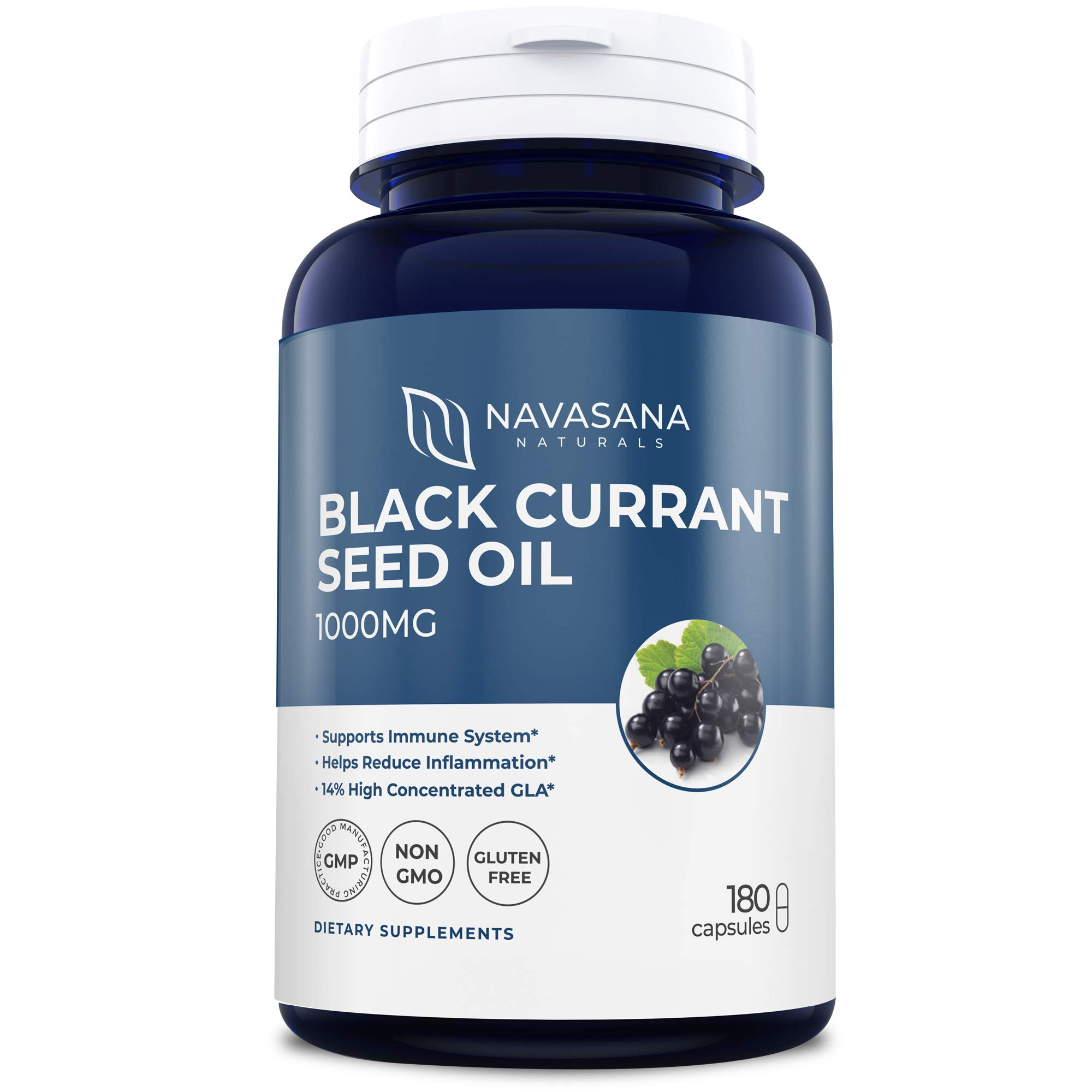 Black Currant Oil 1000 Mg 180 Softgels Cold-Pressed Black Currant Seed Oil (Non-GMO & Gluten Free) 140mg GLA Per Serving Supports Hormonal Balance