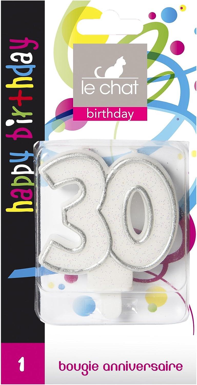 30 ans Le Chat 1196330 Bougie NOMBRE anniversaire blanc paillet/é avec tour argent