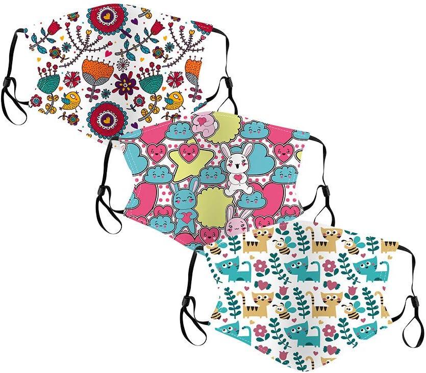 Jasinto Baumwolle Gesichtsschutz mit Ohrb/ügel f/ür Kinder Junge M/ädchen A 3er Pack Cartoon-Tiere Outdoor Nasenschutz Multifunktionstuch Waschbar /& Einstellbar Nasen und Lippen Schutz Bedeckung