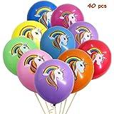 Clerfy Acc Globos 40 Unidades Diseño Unicornio Ideal para Cumpleaños o Fiestas. (40 PCS Multicolor)
