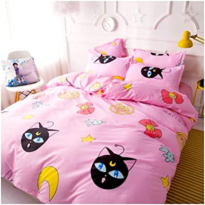 Peachy Baby Featuring Sailor Moon Bedding Sheet Set 【Free Express Shipping】 Single Queen King Size 3 and 4 Pieces Pink Cute Cartoon Animate Girly (Double/Full Size): Home & Kitchen