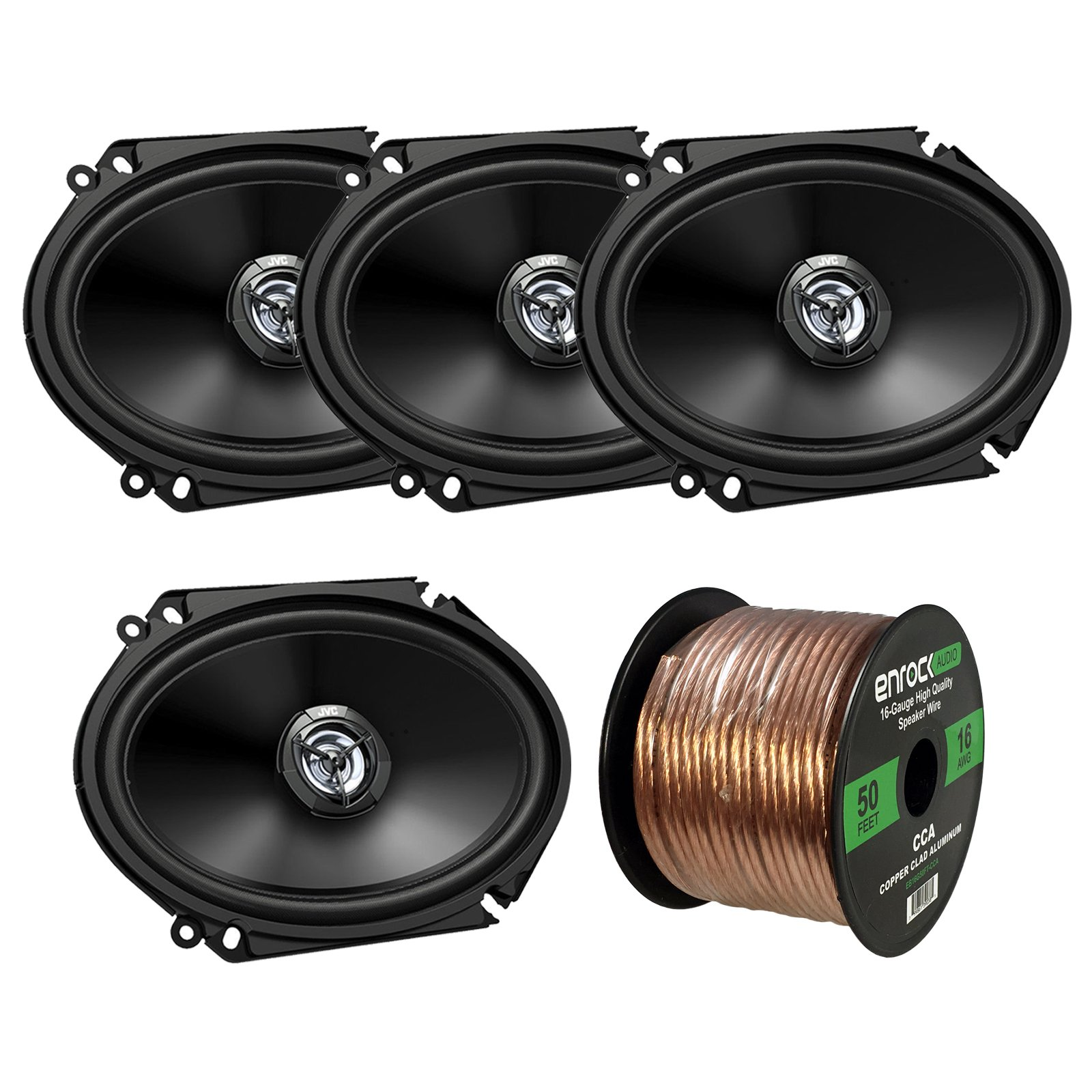 Car Speaker Package Of 4x (2 Pairs) JVC CS-DR6820 300-Watt 6x8'' Inch 2-Way Vehicle Stereo Coaxial Speakers Bundle Combo With Enrock 50 Foot 16 Gauge Speaker Wire