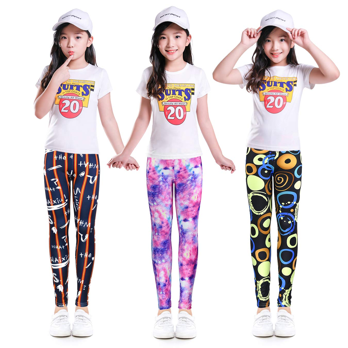 slaixiu 3-Pack Printing Flower Girl Leggings Kids Classic Pants .