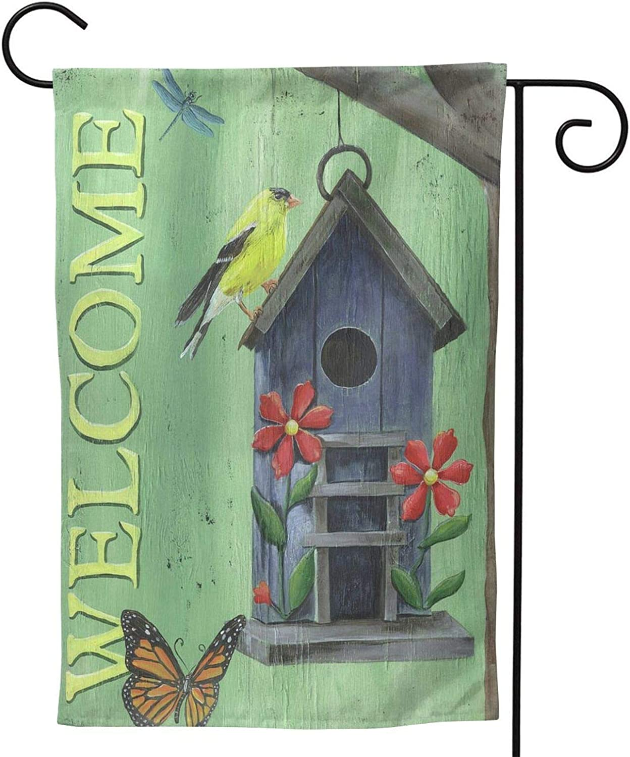 """Ethereal Welcome Goldfinch Garden Flag,Vertical Double Sized,Outdoor Small Yard Lawn Flag,Yard Outdoor Decoration 28""""X40"""""""