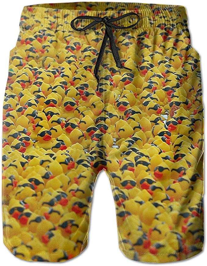 Rubber Duck Painting Mens Board Shorts Swim Mesh Lining and Side Pocket