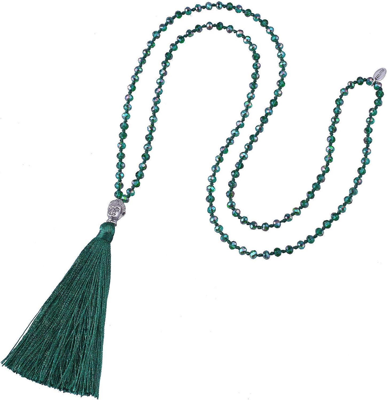 Collar con colgante de borla y cabeza de buda, cadena larga de hilo con cristales, moderno, de KELITCH