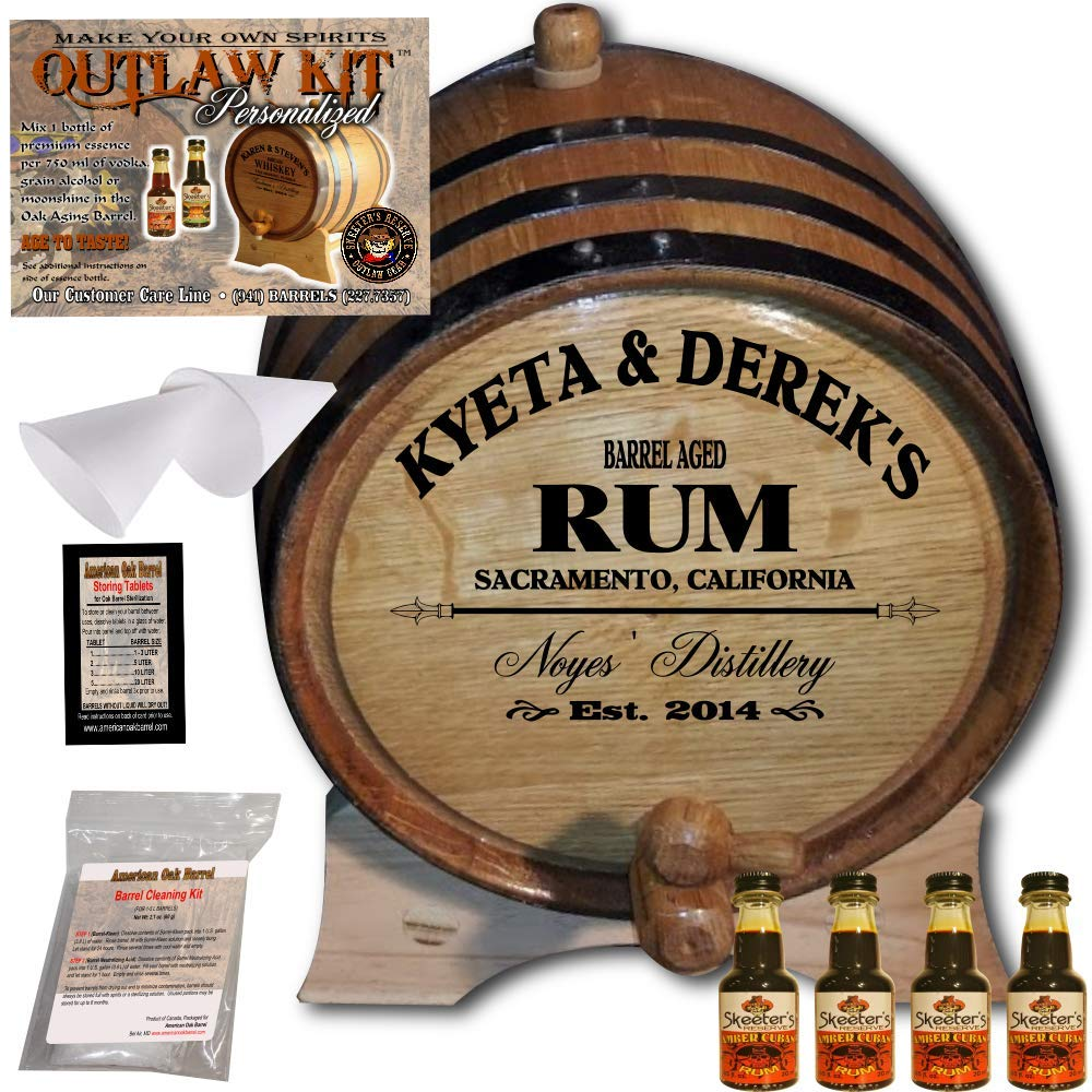 Personalized Rum Making Kit (060) - Create Your Own Amber Cuban Rum - The Outlaw Kit from Skeeter's Reserve Outlaw Gear - MADE BY American Oak Barrel - (Oak, Black Hoops, 3 Liter)