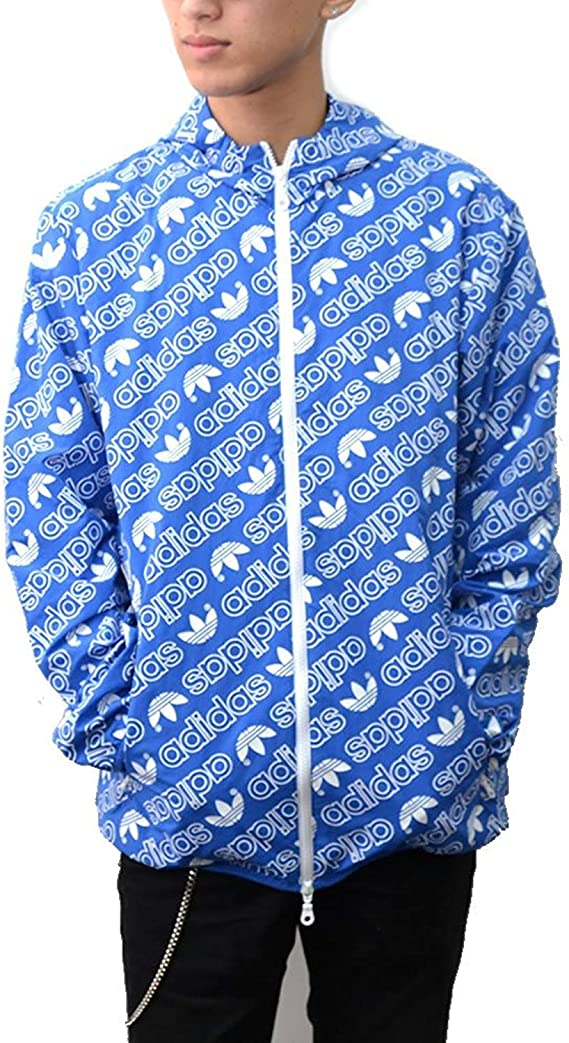 Adidas Men's AOP Windbre Windbreaker Jacket (XXL, Blue