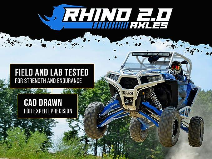 Rear PAIR 2016+ SuperATV Heavy Duty Rhino 2.0 Stock Length Axle for Polaris RZR XP Turbo