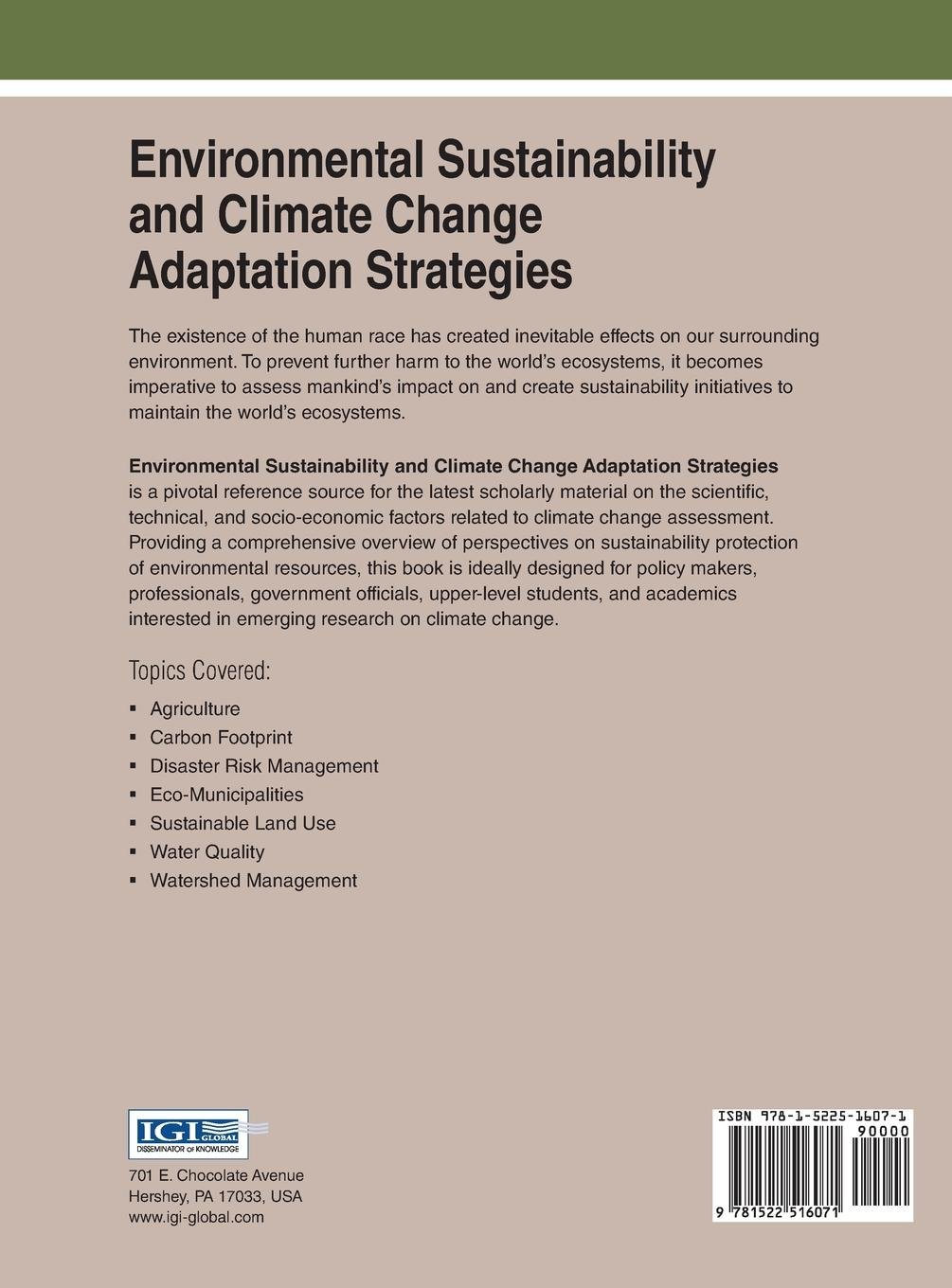 Buy Environmental Sustainability and Climate Change