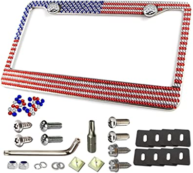 1PC USA Flag Diamond Crystal 7 Rows Bling Color License Plate Frame For US Cars