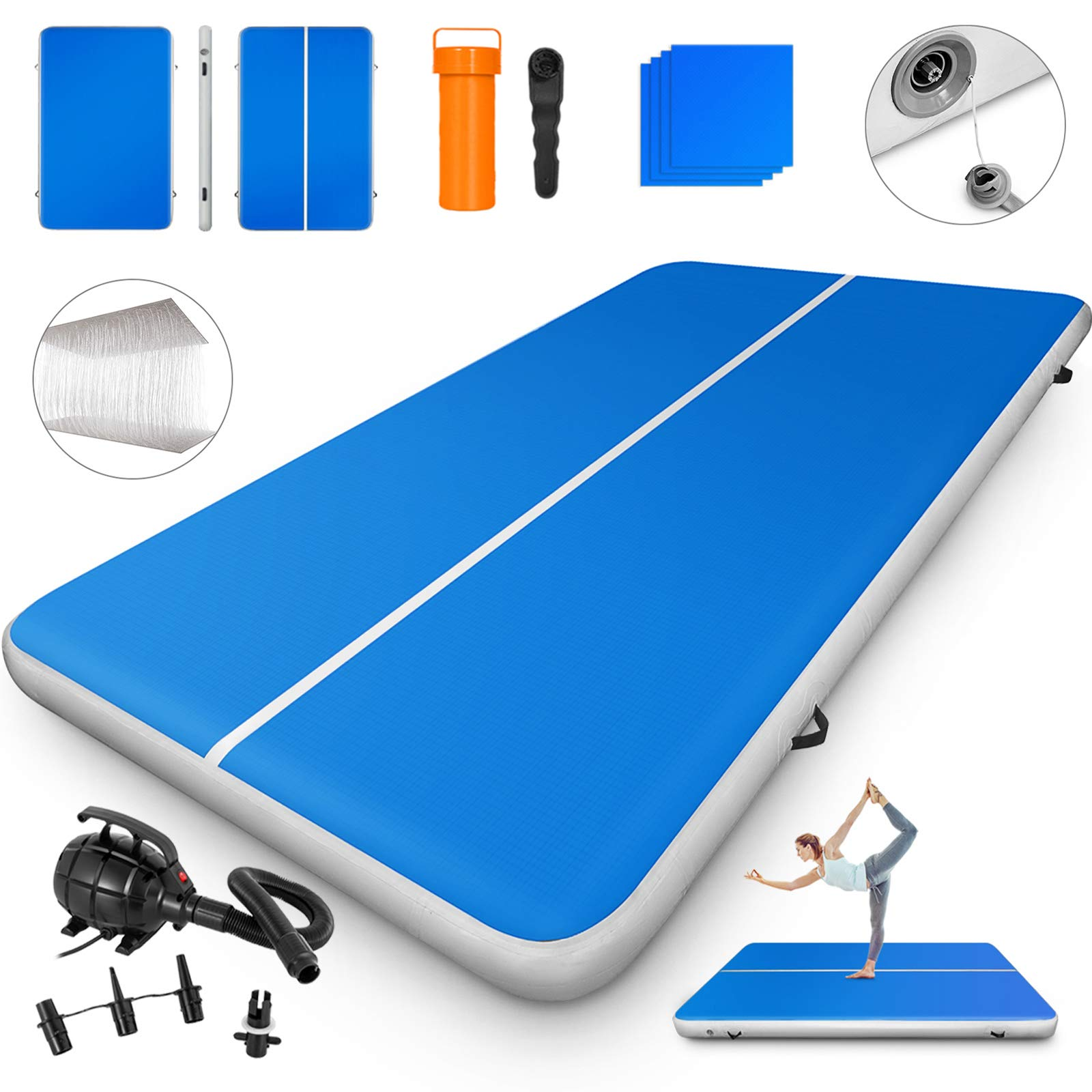 Happybuy 10ft/13ft/17ft/20ft/23ft/26ft/33ft Air Track 8 inches Thick Tumbling Mat Inflatable Gymnastics Airtrack for Home/Cheerleading/Yoga/Parkour/Water with Pump
