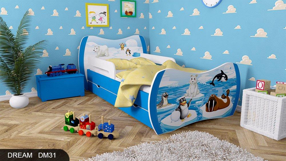 Kinderbett Blau mit Matratze Bettkasten und Lattenrost - verschiedene Motive DM (Winter Tiere, 160x80)