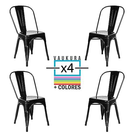 Vaukura Silla Tolix(Pack 4) - Silla Industrial Metálica Brillo (Negro Intenso)