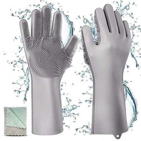 Silikon Handschuhe mit wash Scrubber, Gifort BPA-Frei umweltfreundlich Waschhandschuh Hitzebeständige Spülhandschuhe Reinigun