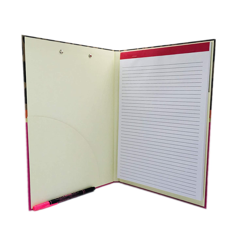 Pink Light Design Clipboard Padfolio and Twin Fluorescent Pen Animal Print