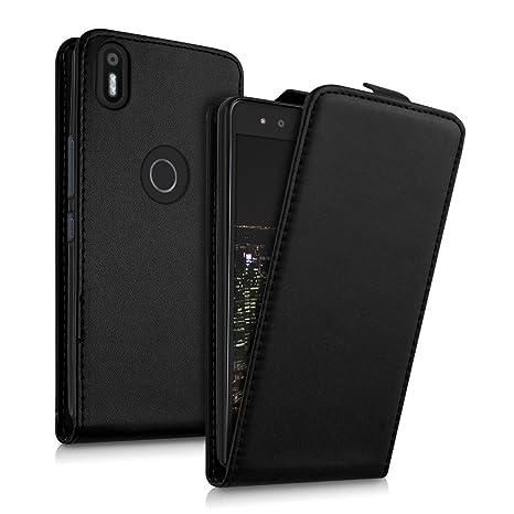 kwmobile Funda para bq Aquaris X5 Plus - Carcasa para móvil de [Cuero sintético] - Case [Plegable] en [Negro]