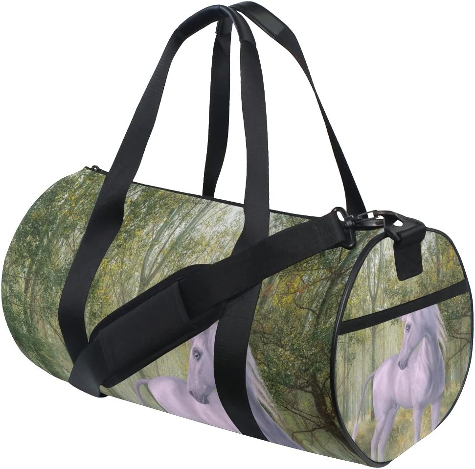 Two Unicorns Forest Sports Gym Bag with Shoes Compartment Travel Duffel Bag for Men and Women