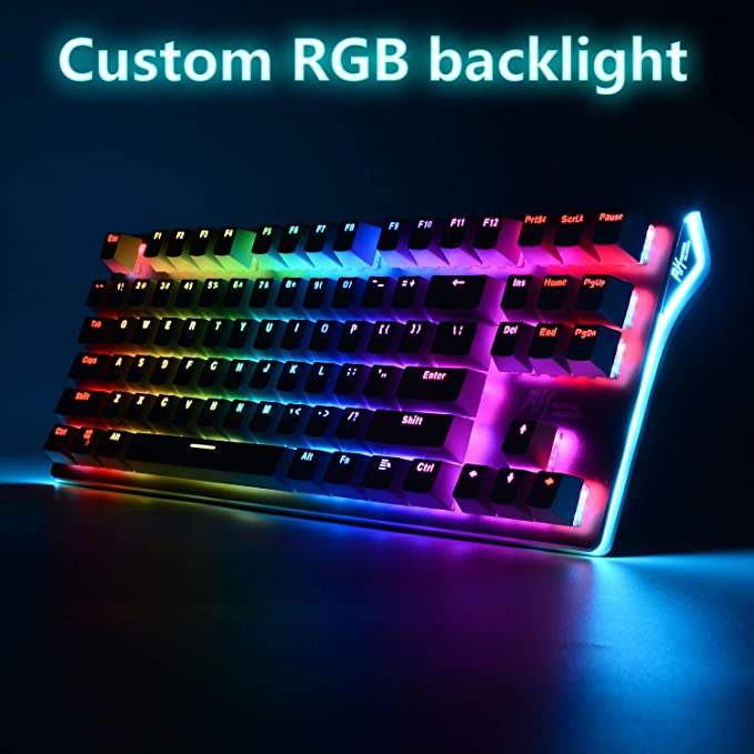 Amazon.com: RGB Mechanical Keyboard 87-Key RGB LED Backlit Wireless Bluetooth 3.0 /USB Wired Multi-Media Mechanical Gaming Keyboard ...