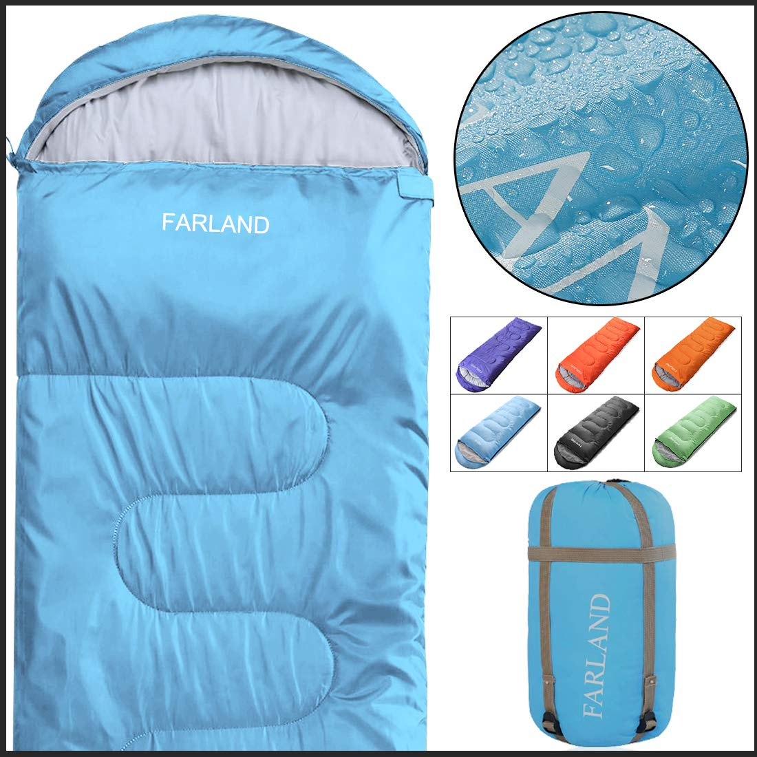 FARLAND Rectangular Sleeping Bag 0 Degree centigrade 20 Degree F,Cold Weather 4 Season for Adults, Youth, Kids, Unisex for Camping, Hiking, Waterproof, Traveling, Backpacking and Outdoors by FARLAND