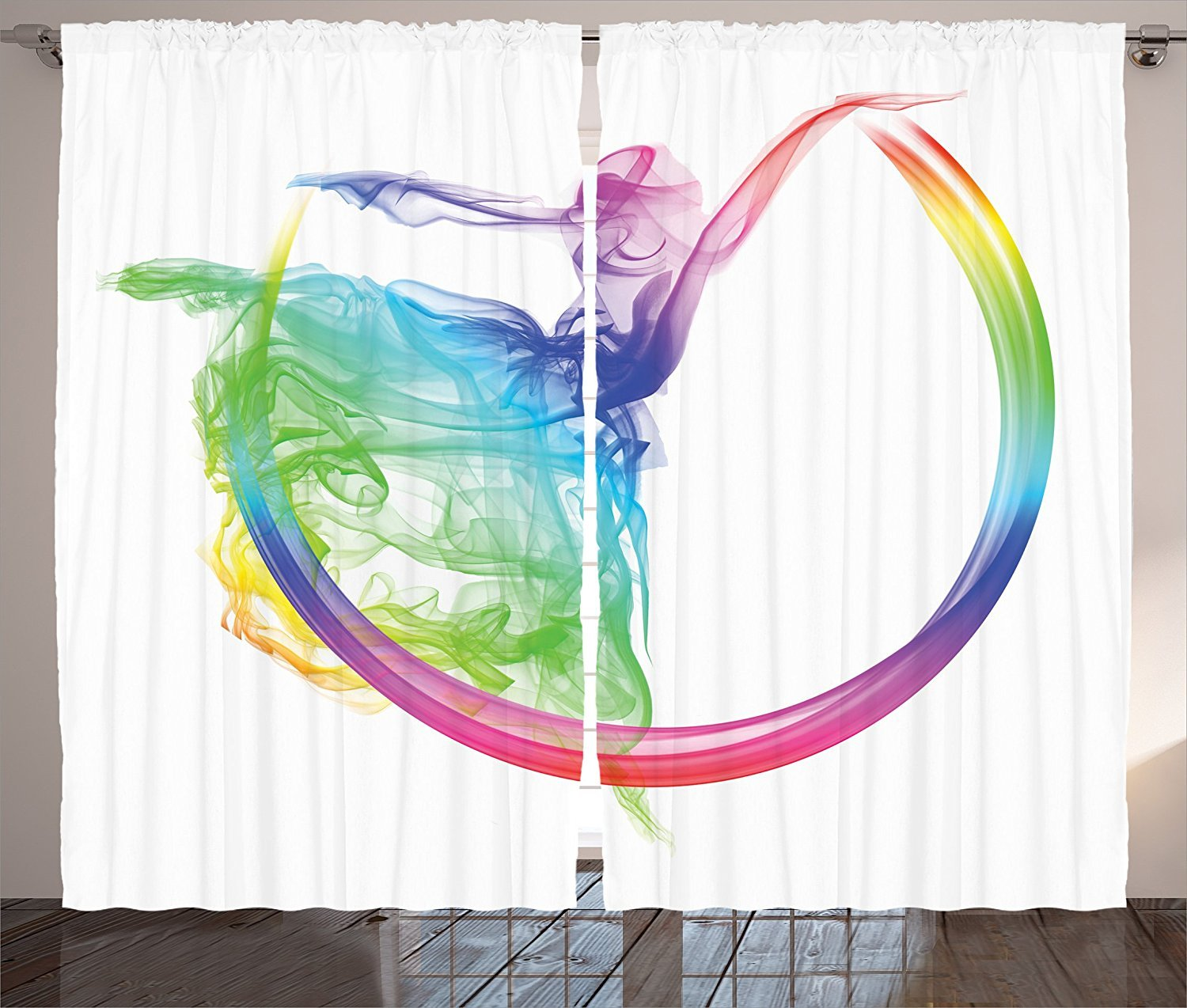 Abstract Home Decor Collection Smoke Dance Shape Silhouette of Dancer Ballerina Rainbow Colors Fantasy Image Living Room Bedroom Curtain 2 Panels Set Blue Aqua Yellow
