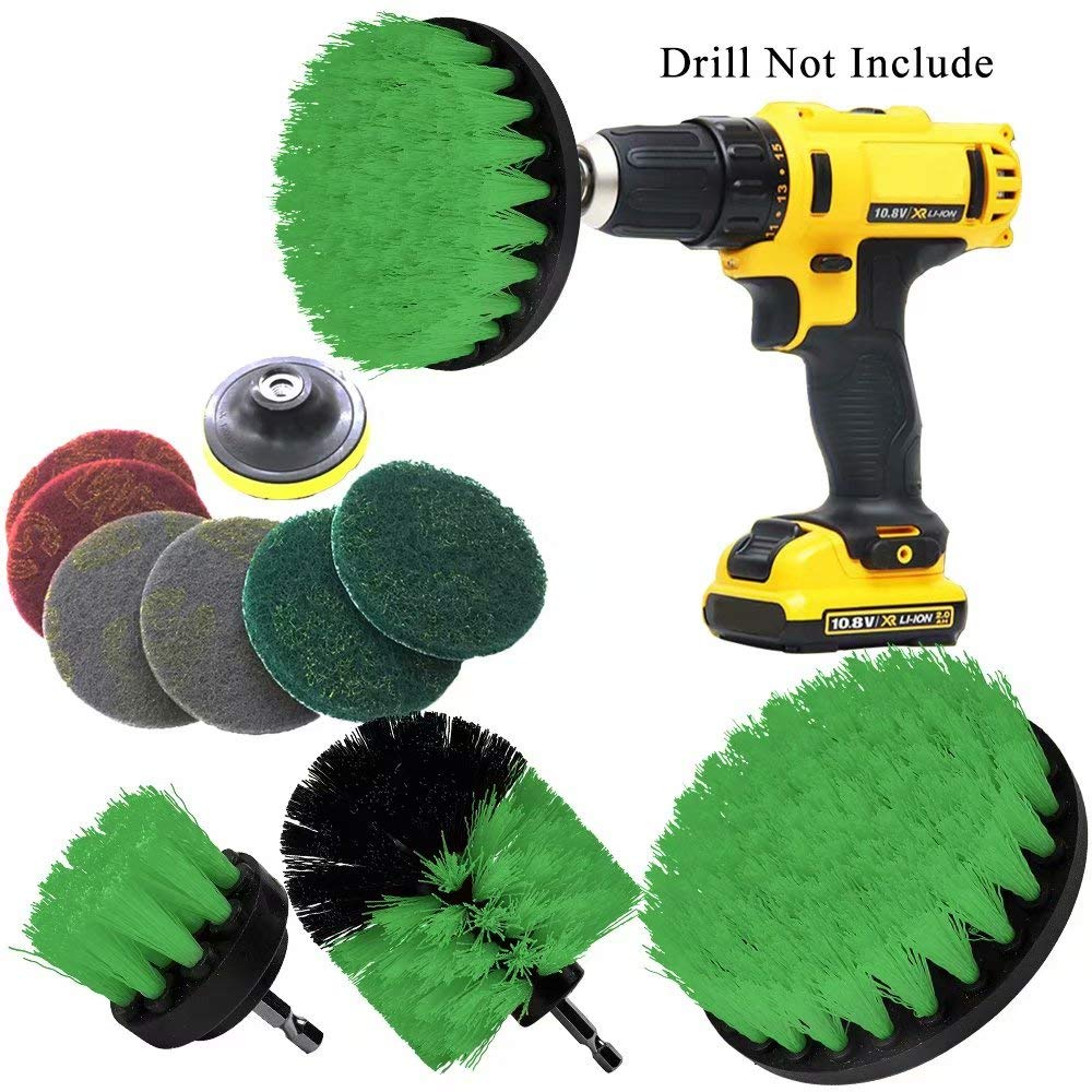 Drill Brush Attachments Set Power Drill Scrub Brush Attachments Drill Scrub Pads For Grout, Tiles, Sinks, Bathtub, Bathroom, Shower & Kitchen Surface Green 11 Piece