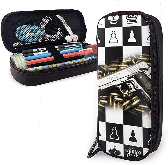 Estuche cuadrado de ajedrez para niños y niñas, color blanco y negro: Amazon.es: Oficina y papelería