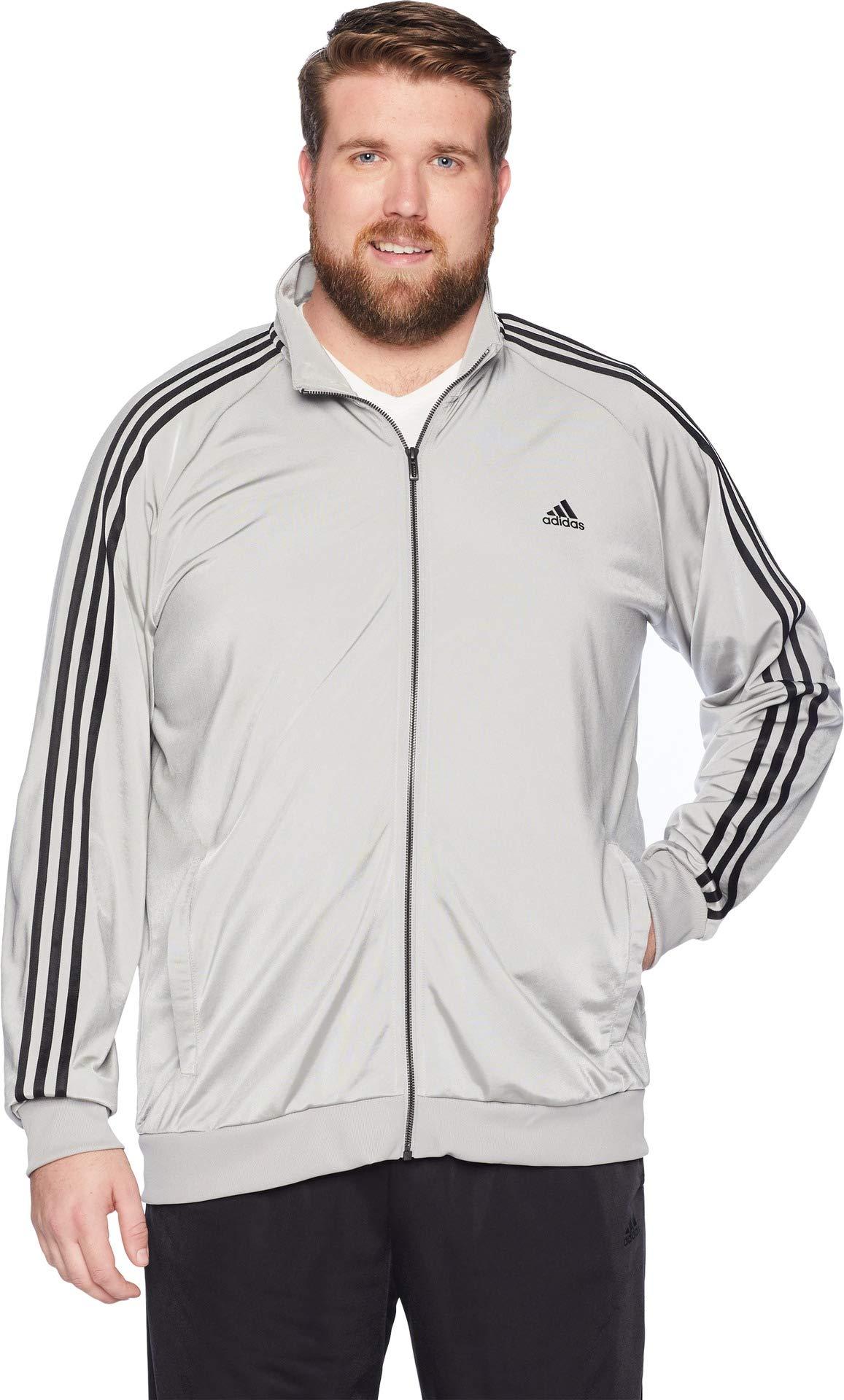 more photos 6db89 0151d Galleon - Adidas Men s Big   Tall Essentials 3-Stripes Tricot Track Jacket  Medium Grey Heather Solid Grey Black XX-Large