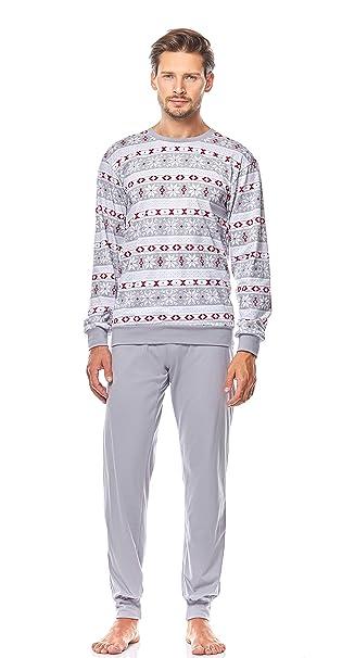 Ladeheid Pijama para Hombre LA40-106 (Patrón-1Gris, S)