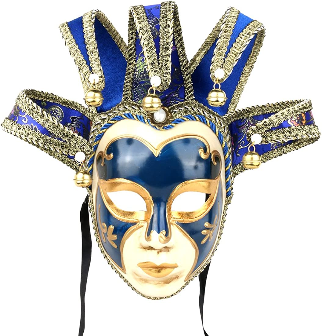 YU FENG Masquerade Jolly Jester Mask Cosplay Mardi Gras Prom Dance Birthday Party Wear or Decor (Blue)