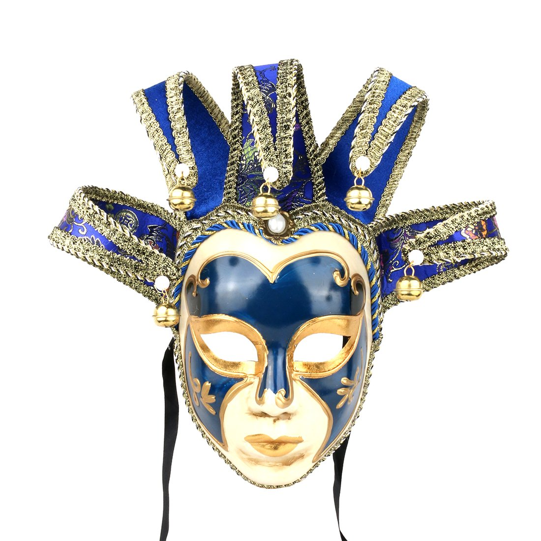 YUFENG Masquerade Jolly Jester Mask Cosplay Mardi Gras Prom Dance Birthday Party Wear or Decor (blue) by YUFENG