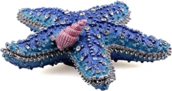 55b693d8 Starfish Handpainted Glazed Metal Tiny Treasure Figurine with Necklace