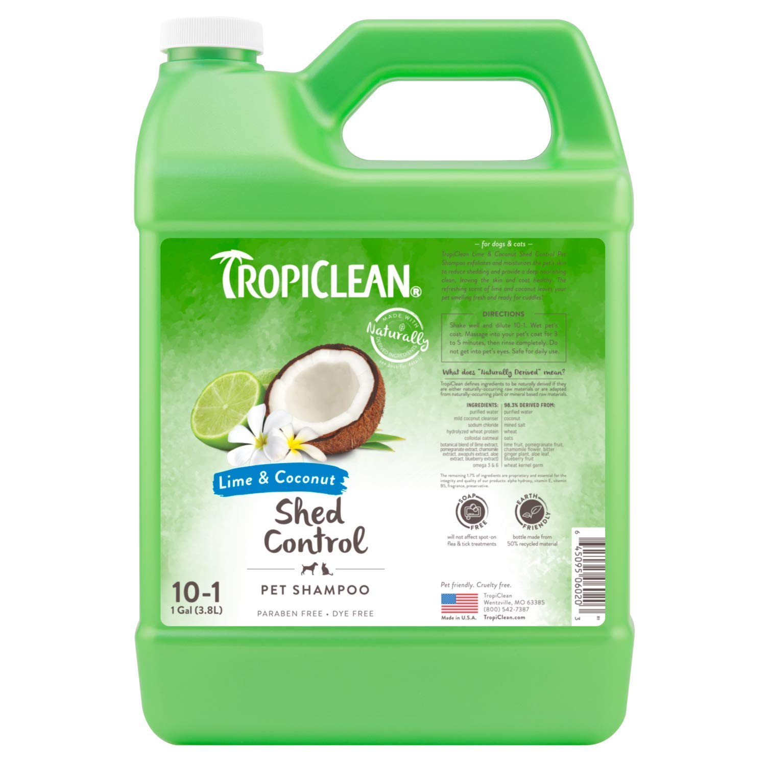 TropiClean Lime and Coconut Shed Control Shampoo for Pets, 1 gal, Made in USA