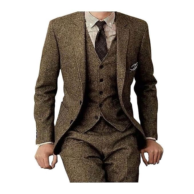 Amazon.com: Tweed Herringbone - Traje de 3 piezas para ...