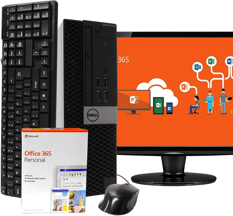 "Dell OptiPlex 5040 Desktop Computer Intel i5-6500 3.2GHz 16GB RAM 512GB SSD, Windows 10 Pro, 19"" LCD, Microsoft Office 365 Personal, 16GB Flash Drive, Keyboard, Mouse, WiFi, Bluetooth (Renewed)"