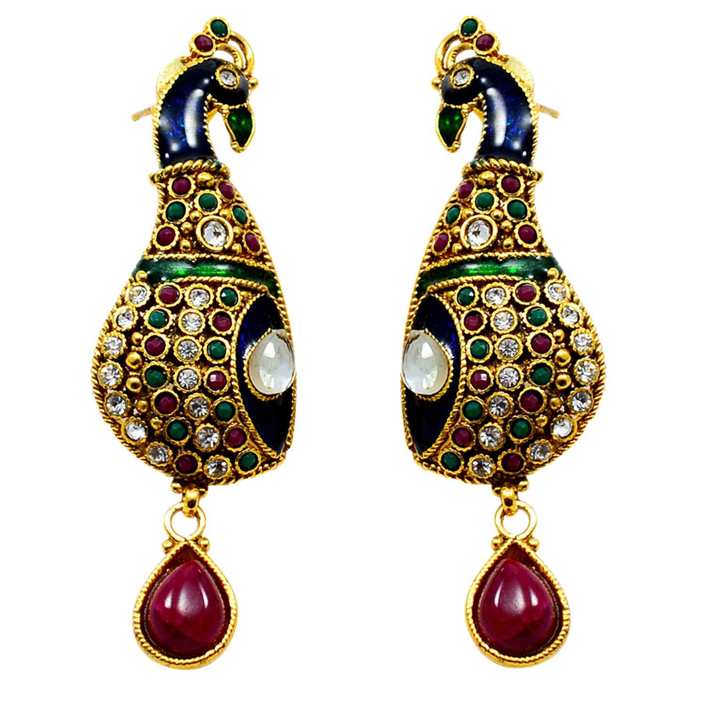 Silvestoo Jaipur Green Emerald Kundan Meena Gemstone Gold Plated Earring For Girls PG-109518 Created Pink Ruby
