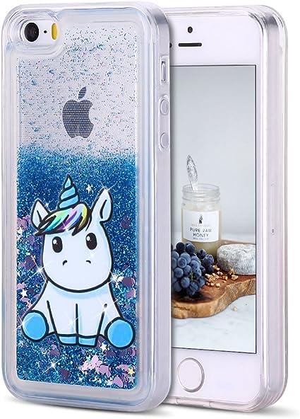 CaseLover Coque iPhone 5, Coque iPhone Se Glitter Liquide, Dynamic Paillettes Housse Étui pour iPhone 5/5S/SE Soft Transparente TPU Silicone Case ...