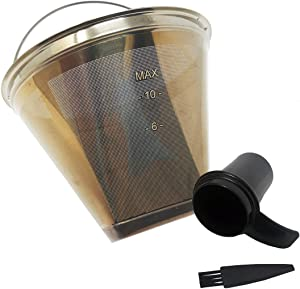 GOLDTONE Stainless Steel Coffee Filter - No.4 Cone Style Permanent Metal Reusable Coffee Filter for Ninja and Cuisinart Coffee Makers - Includes Scoop and Brush