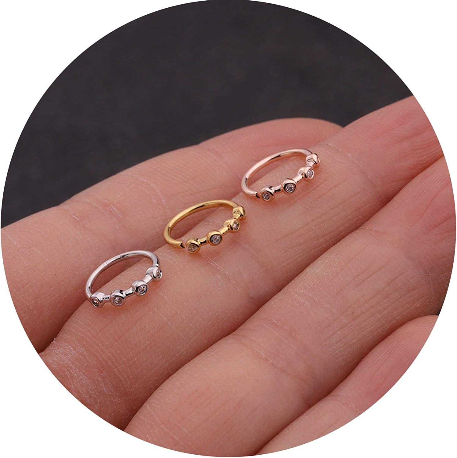 1PC Silver And Gold Color 20gx8mm Nose Piercing Jewelry Cz Nose Hoop Nostril Ring Flower Helix Cartilage Tragus Earring,yellow gold,flower