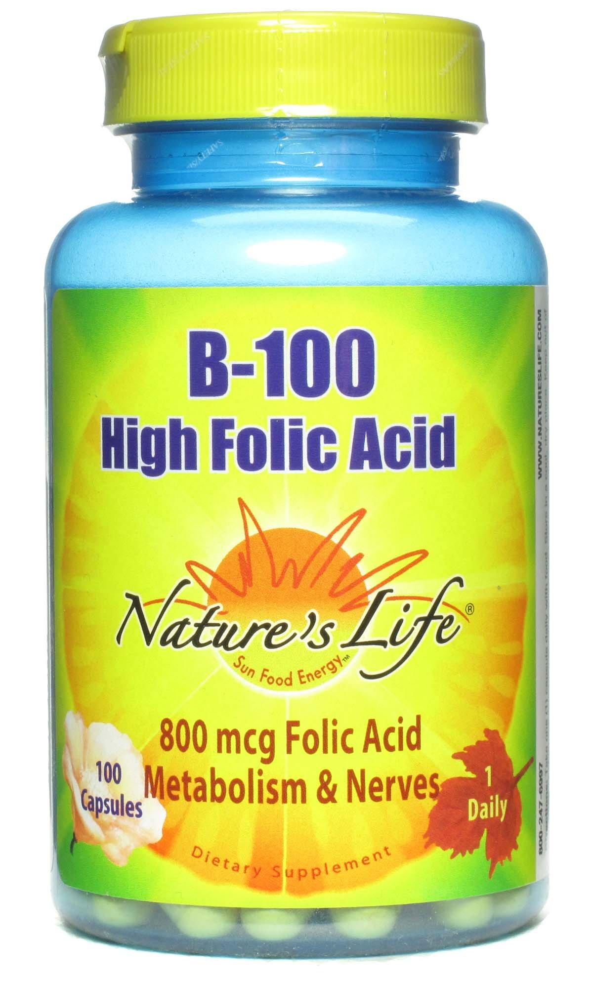 Nature's Life B--100 High Folic Acid, 100 Mg, 100 Capsules (Pack of 3)