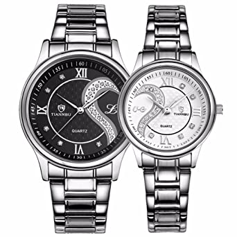 eee707270b3 Fq-102 Stainless Steel Romantic Pair His and Hers Wrist Watches for Men  Women Black