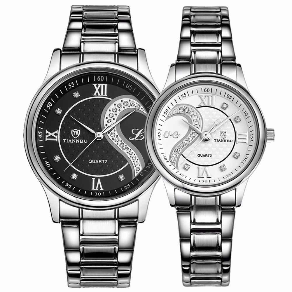 Fq-102 Stainless Steel Romantic Pair His and Hers Wrist Watches for Men Women Black White Set of 2