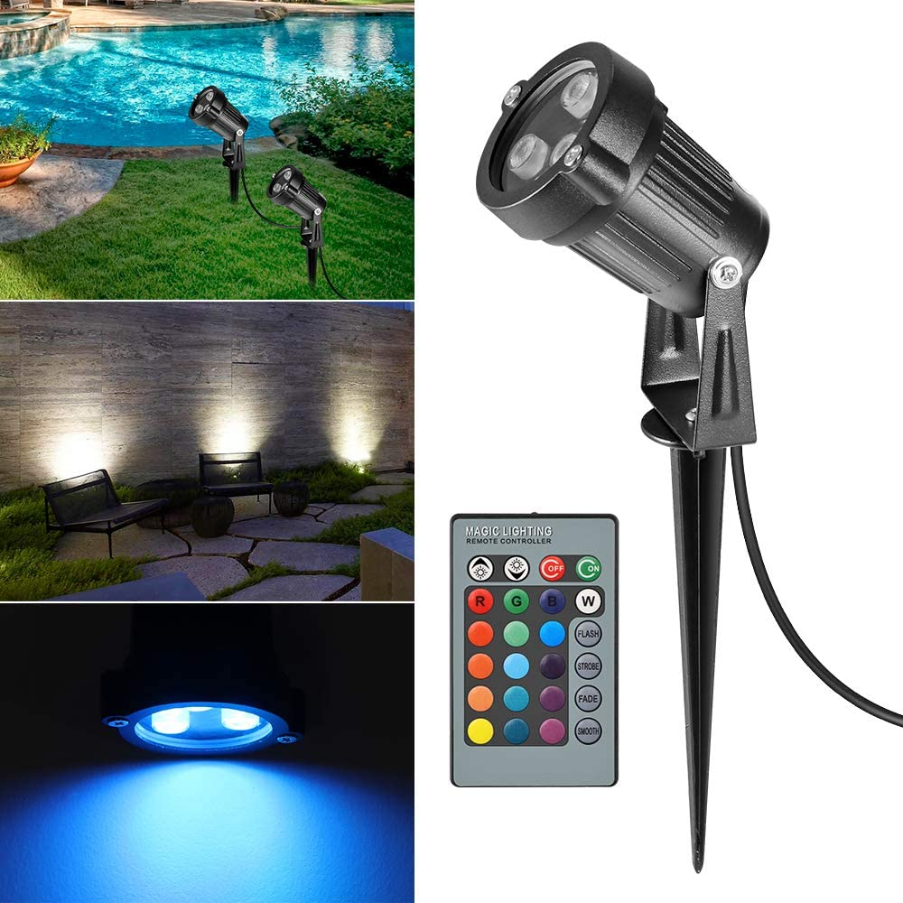 Ourleeme Lawn Flood Light Stake 2-in-1 Waterproof Outdoor Remote controlle Landscape Lighting Spotlight Wall Light for Yard Garden Driveway Pathway Pool