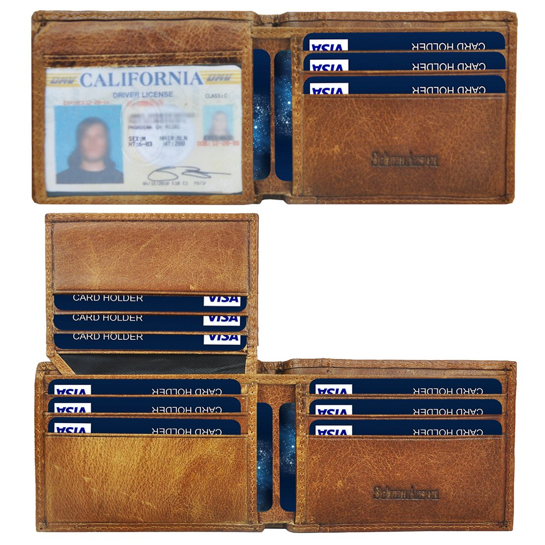 Mens Wallet, Schumarson RFID Blocking Bifold Genuine Leather Front Pocket Wallets for Men with Money Clip - Brown