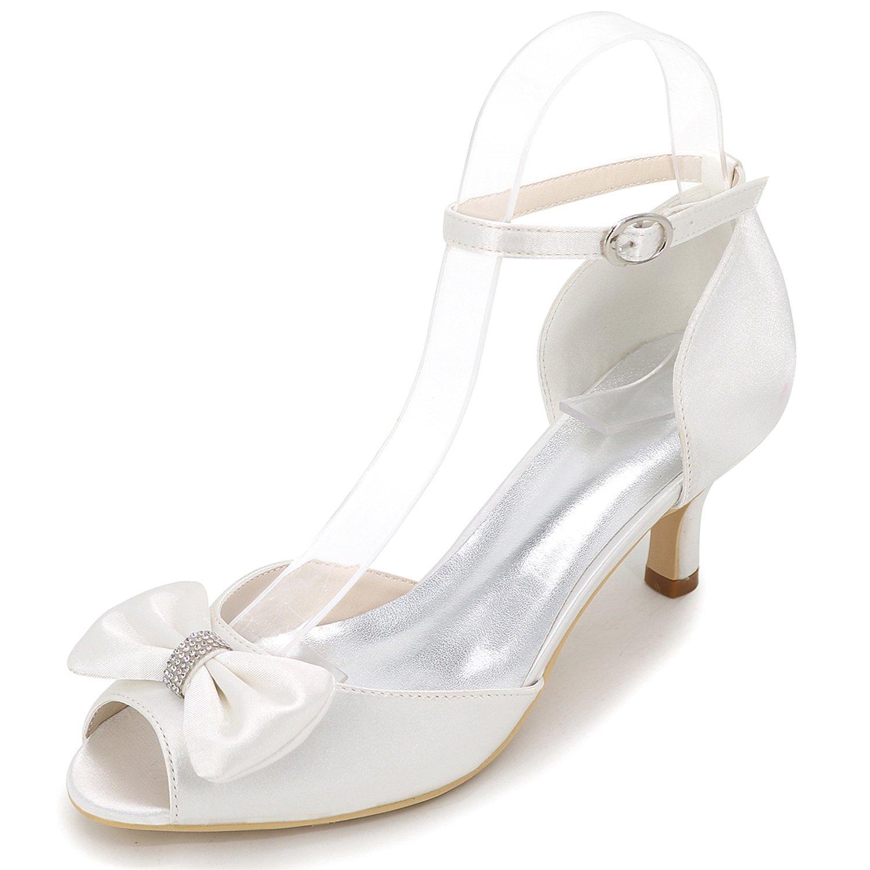 Elobaby Zapatos De Boda De Las Mujeres Negro Oscuro Azul Satinado Nupcial Plataforma OtoñO Peep Toe Hebilla/6 Cm TalóN 43 EU|White