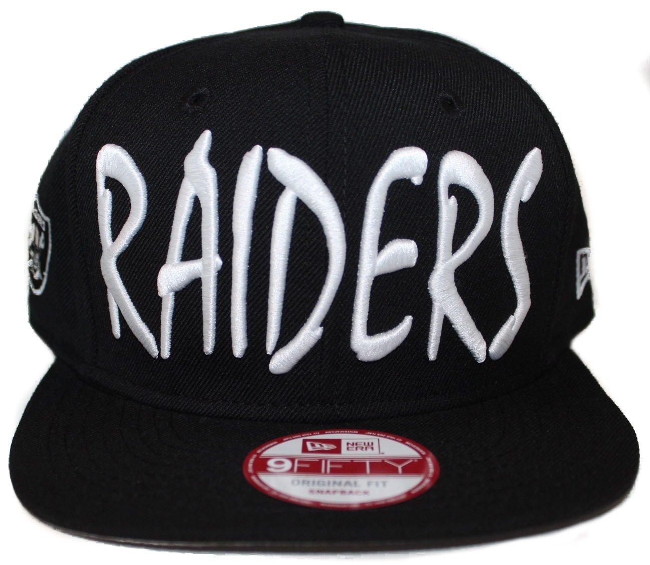 dbd1a268bde1c New Era Los Angeles Raiders 9Fifty Black and White Sketch Script N.W.A  Adjustable Snapback Hat NFL