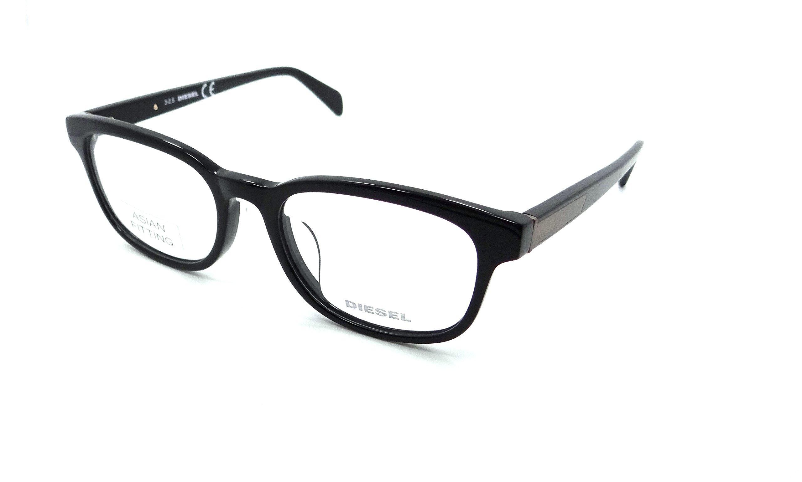 Diesel Rx Eyeglasses Frames DL5207-D 001 54-19-145 Shiny Black Asian Fit