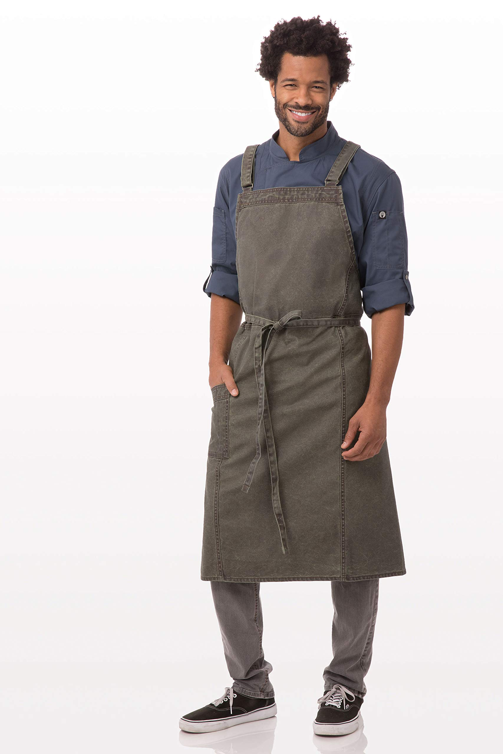 Chef Works Denver Chefs Cross-Back Bib Apron, Olive Wood, One Size by Chef Works