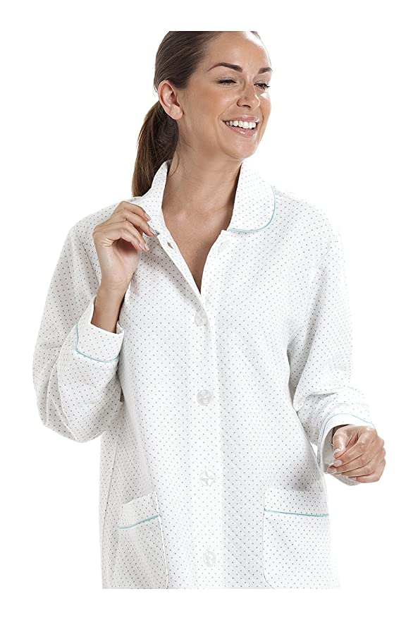 Amazon.com: Camille Womens White House Coat with a Blue Dot Print: Clothing